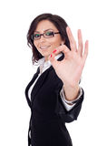 Business woman satisfied with results stock image