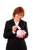 Business woman save fifty euro in the piggy bank Stock Photos