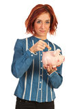 Business woman save money. And put a coin in piggy bank isolated on white background Royalty Free Stock Photography