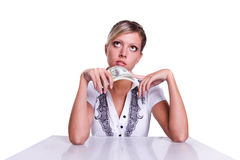 Business woman save up some money. Isolated over white background Royalty Free Stock Photo