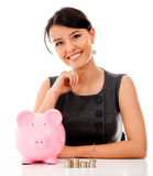 Business woman saving money Royalty Free Stock Photography