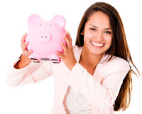 Business woman saving money Stock Photography