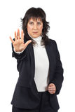 Business woman saying stop Royalty Free Stock Photos