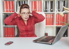 Business woman scared working with computer Stock Photography