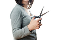 Business woman with scissors royalty free stock images