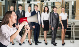 Business woman scream to megaphone Royalty Free Stock Photos