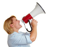 Business woman screaming. Loudly in a megaphone Stock Photos