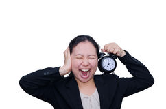 Business woman screaming with clock Royalty Free Stock Image