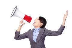 Business woman screaming in megaphone Royalty Free Stock Photos