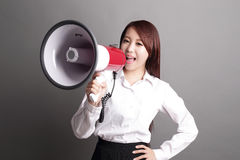 Business woman screaming with megaphone Stock Image