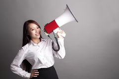 Business woman screaming with megaphone Stock Photography