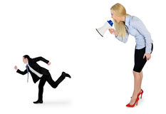 Business woman screaming on megaphone Stock Photos