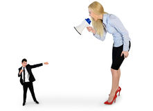 Business woman screaming on megaphone Royalty Free Stock Image