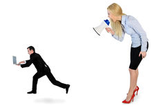 Business woman screaming on megaphone. Business women screaming on megaphone on little man Stock Image