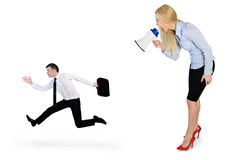 Business woman screaming on megaphone. Business women screaming on megaphone on little man Stock Photos