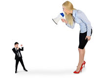 Business woman screaming on megaphone Royalty Free Stock Images