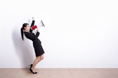 Business woman screaming stock photography