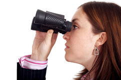 Business woman searching with binoculars Royalty Free Stock Photo