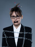 Business woman secretary chained Stock Images
