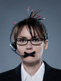 Business woman secretary gag telephone. Beautiful business woman on isolated with headset telephone bacground muzzle with headset Stock Photo