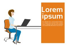Business Woman Or Secretary Working At Laptop Computer Sitting At Office Desk. Vector Illustration Royalty Free Stock Images