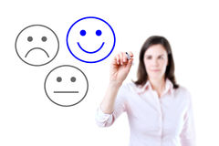 Business woman select happy on satisfaction evaluation.  Isolated on white. Business woman select happy on satisfaction evaluation.  Isolated on white Royalty Free Stock Photography