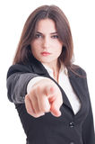 Business woman selecting or choosing you pointing finger to came Royalty Free Stock Photography