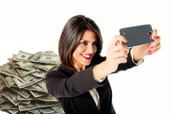 Business woman selfie with many money Royalty Free Stock Photo