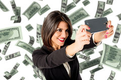 Business woman selfie with many money Royalty Free Stock Image