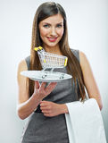 Business woman selling concept isolated portrait. Stock Images