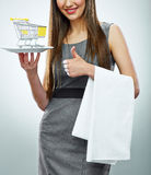 Business woman selling concept isolated portrait. Thumb up show Royalty Free Stock Images