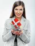 Business woman. Selling concept. White background Royalty Free Stock Photography