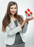 Business woman. Selling concept. White background Royalty Free Stock Photo