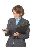 Business woman sending sms Royalty Free Stock Images