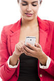 Business woman sending sms Royalty Free Stock Photo