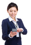 Business woman sending text message Stock Photography