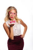 Business woman sends an air kiss Royalty Free Stock Photos