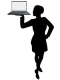 Business woman server holds up laptop computer stock illustration