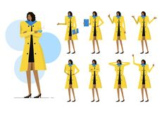 Business woman Set. Black woman with yellow cloths on many pose. flat character design. vector Stock Photos