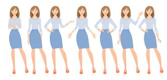 Business woman set. Set of female gestures and postures vector illustration Stock Images
