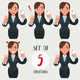 Business woman set. Businesswoman with different face expressions. Girl with various emotions. Funny cartoon woman in royalty free illustration