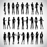 Business woman. Set of businesswoman silhouettes on the background Royalty Free Stock Photos