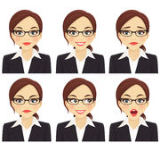Business woman set. Business woman with different facial expressions set Stock Images