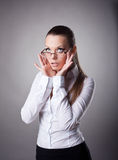Business woman set the glasses straight Stock Photo