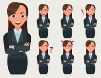 Business woman set. Office worker with different emotions.. Business woman set. Office worker with different emotions and poses. Woman standing folded hand Royalty Free Stock Photography