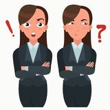 Business woman set. Office worker with different emotions. Woman standing folded hand. Girl expressions set.  Stock Photo