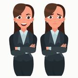 Business woman set. Office worker with different emotions. Woman standing folded hand. Girl expressions set.  Stock Photography