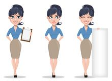 Business woman, set of three poses. Holding clipboard, crying and holding placard. Beautiful businesswoman in formal clothes standing straight. Cute cartoon Royalty Free Stock Image