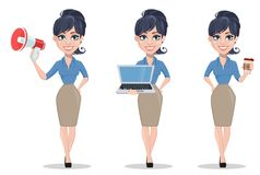 Business woman, set of three poses. Holding clipboard, crying and holding placard. Beautiful businesswoman in formal clothes standing straight. Cute cartoon Stock Images