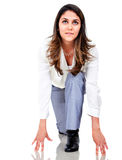 Business woman set to run Stock Images